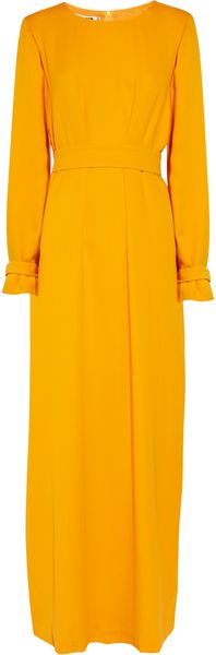 Jil Sander Helado Double Silkcrepe Dress in Yellow (marigold) - Lyst