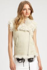 Mcq By Alexander Mcqueen Lambskin Leather and Shearling Vest in Beige (bone) - Lyst