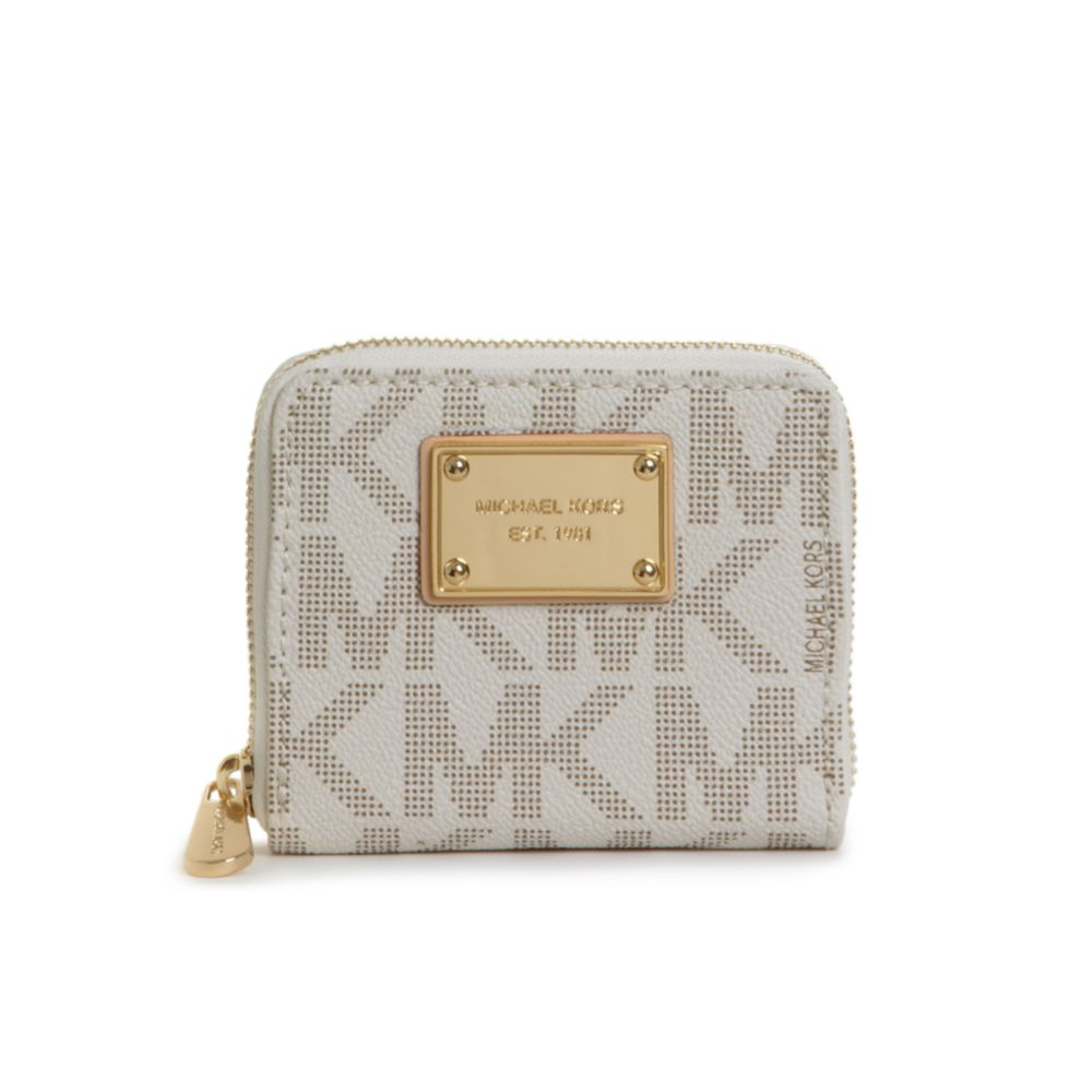 d034d600f621 ... new zealand lyst michael kors mk logo small ziparound wallet in white  fad17 a83c3