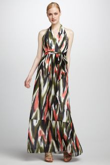 Milly Dress on Milly Gustavia Ikat Print Halter Dress In Multicolor  Flamingo    Lyst