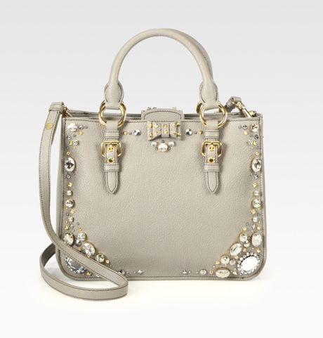 Miu Miu Madras Jeweled Satchel in Gray (grey) - Lyst