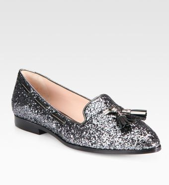 Miu Miu Glitter Metallic Leather Loafers - Lyst