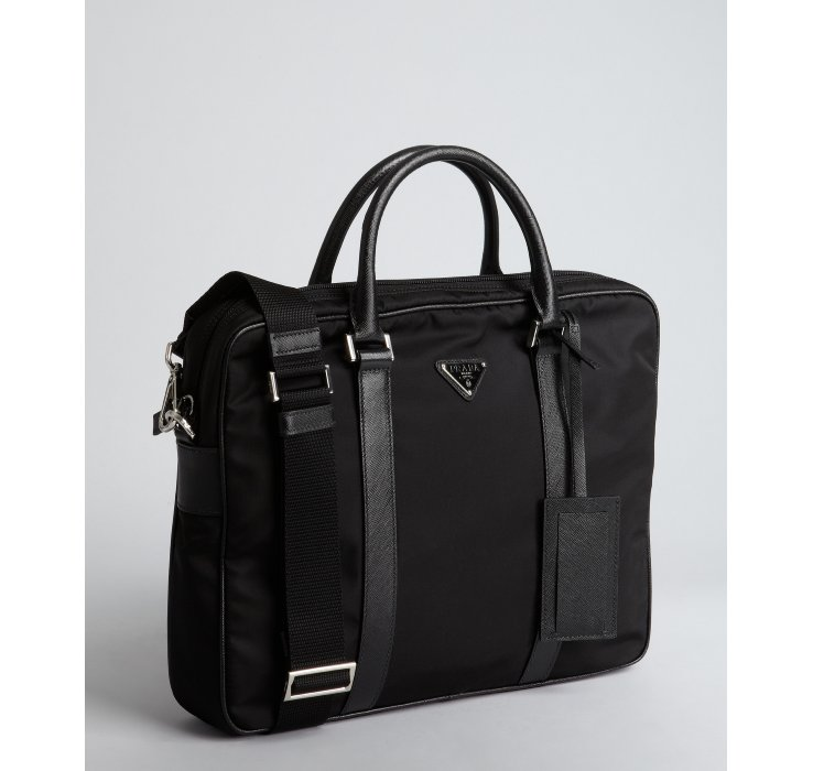 Prada Black Nylon Saffiano Leather Trim Convertible Briefcase in ... - Prada briefcase black