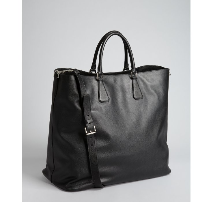 Prada Black Saffiano Leather Large Tote Bag in Black for Men | Lyst