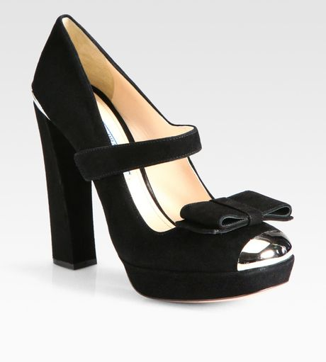 Prada Suede Mary Jane Toe Cap Pumps in Black - Lyst