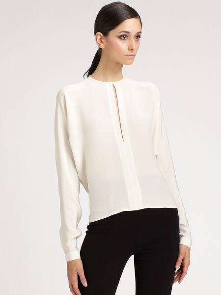 Ralph Lauren Collection Silk Rebecca Blouse In White Lyst