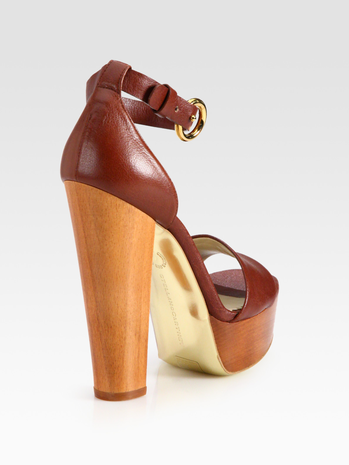 92497b671a7 Lyst - Stella McCartney Faux Leather and Wooden Platform Sandals in ...