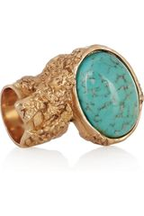 Yves Saint Laurent Arty Goldplated Glass Ring - Lyst