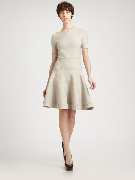 Yves Saint Laurent Wool Knit Dress in Gray (pearl) - Lyst