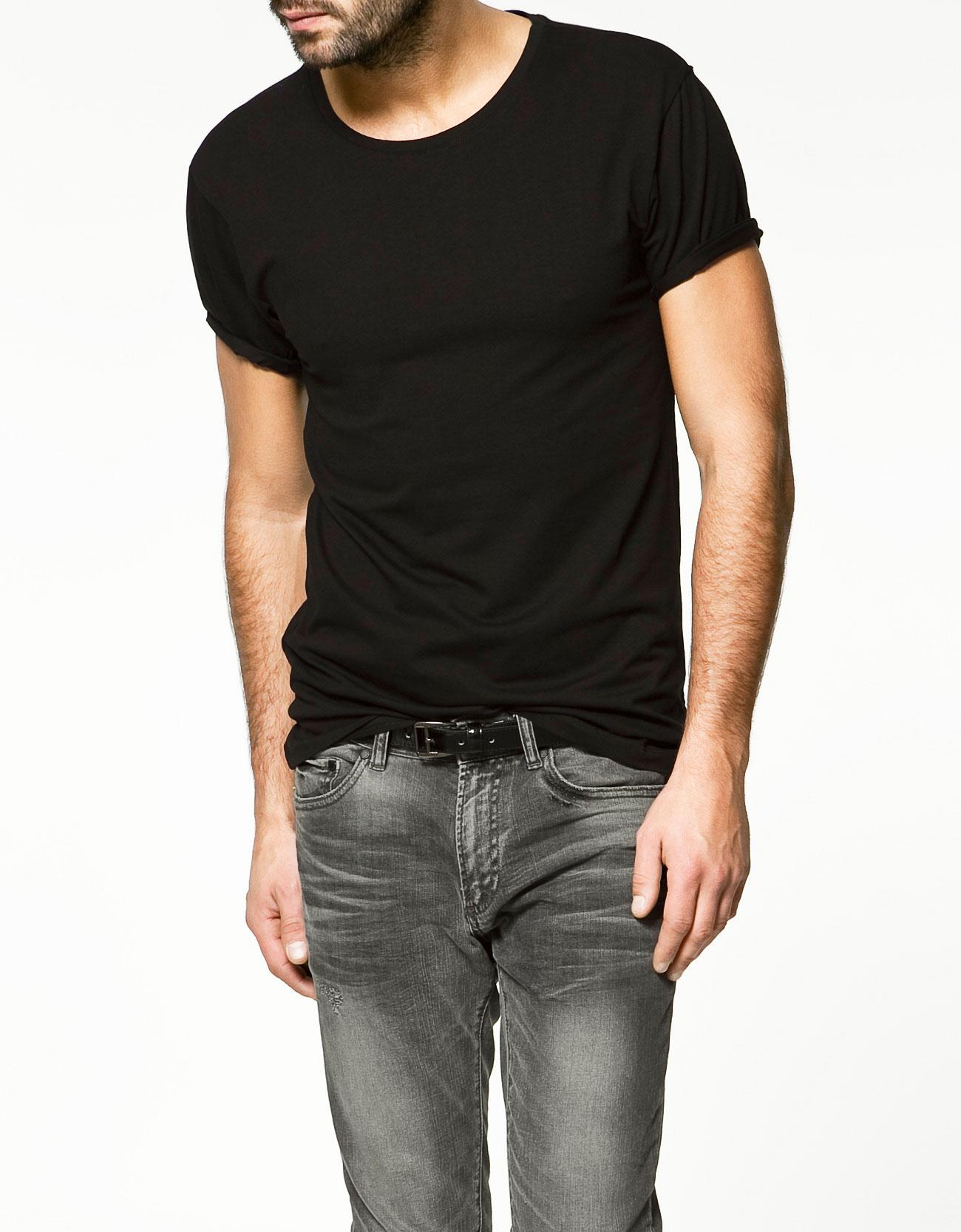 Zara Slim Fit T Shirt In Black For Men Lyst
