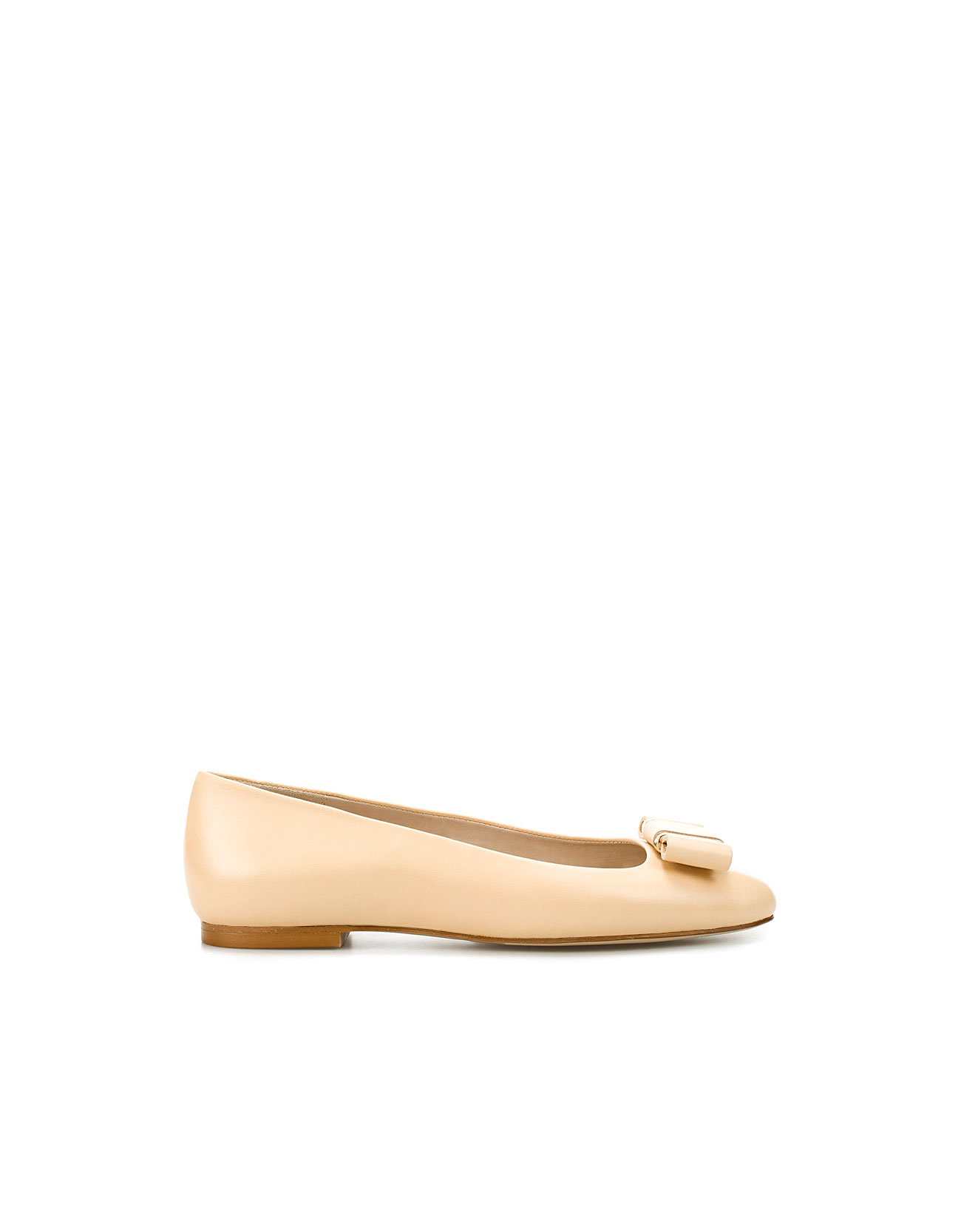 Unique Zara Flat Shoes With Metal Heel Detail In Brown  Lyst