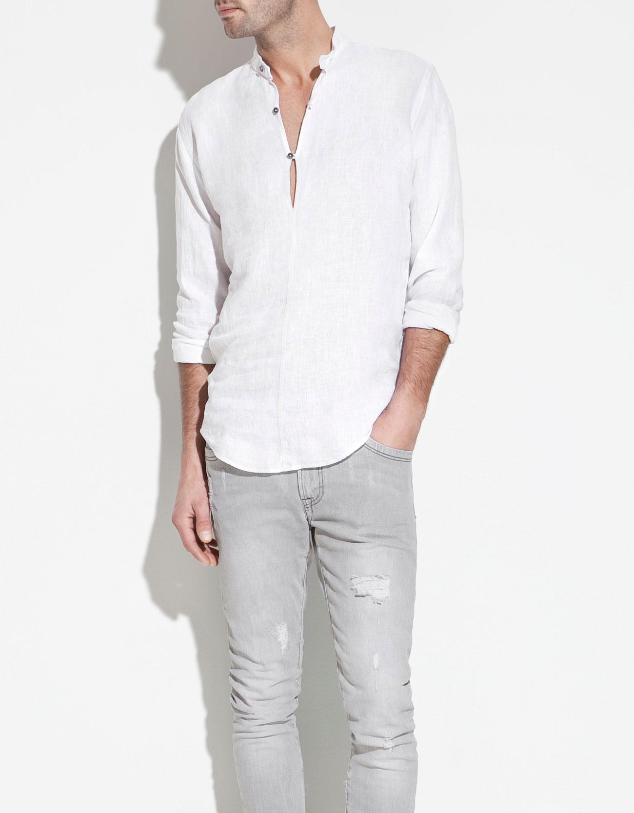 Zara Linen Shirt With Mao Collar In White For Men Lyst