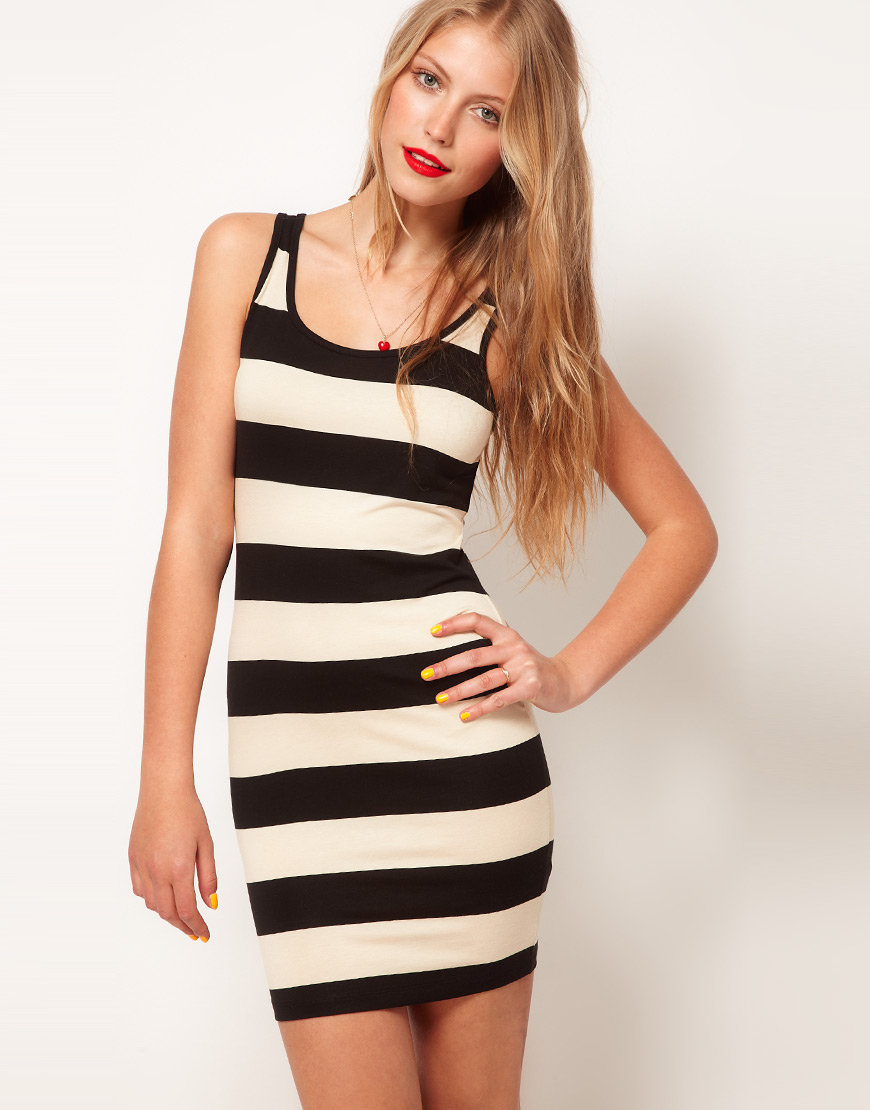 Lyst - ASOS Mini Bodycon Dress in Wide Stripe in Black 7dc44d7ba