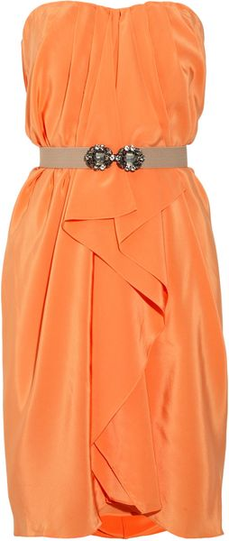 Bcbgmaxazria Belted Silkcharmeuse Dress in Orange - Lyst