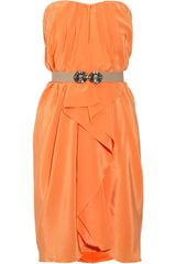 BCBGMAXAZRIA Belted Silkcharmeuse Dress