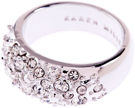 Karen Millen Slim Encrusted Metal Ring in Gray (silver) - Lyst