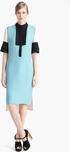 Marni Colorblock Organza Dress in Blue (light blue ivory) - Lyst