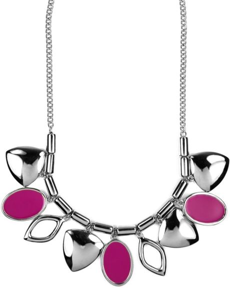 Nine West Fuchsia Leaf Necklace in Purple (fuchsia) - Lyst