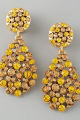 Oscar de la Renta Crystal Teardrop Earrings Yellow - Lyst