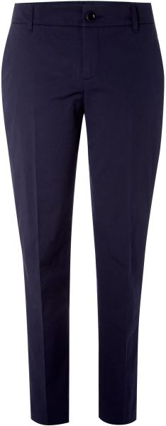 Stefanel Gabardine Stretch Trousers in Blue (navy) - Lyst
