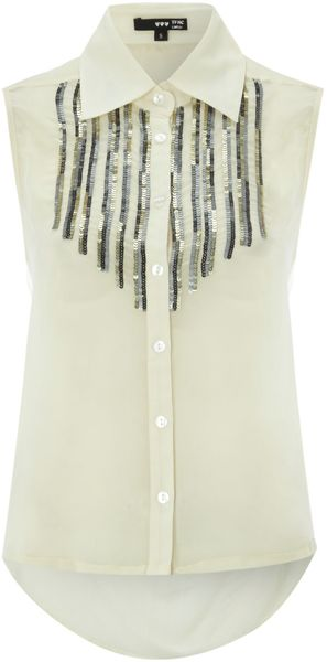 Tfnc Sleeveless Embellished Long Back Shirt - Lyst