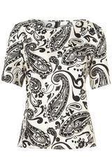 Topshop Paisley Print Silk Tee By Boutique in Black - Lyst