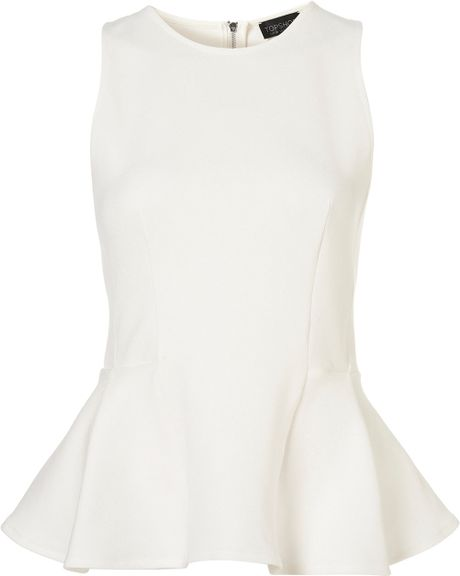 Topshop Panel Peplum Shell Top in White (ivory)