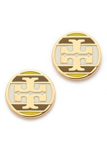 Tory Burch Striped Logo Stud Earring - Lyst