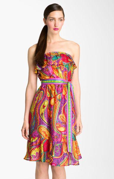 Trina Turk Henna Print Strapless Silk Dress In Multicolor