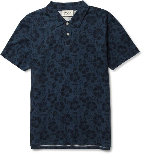 Ymc Hibiscus Print Cotton Polo Shirt in Blue for Men (hibiscus)