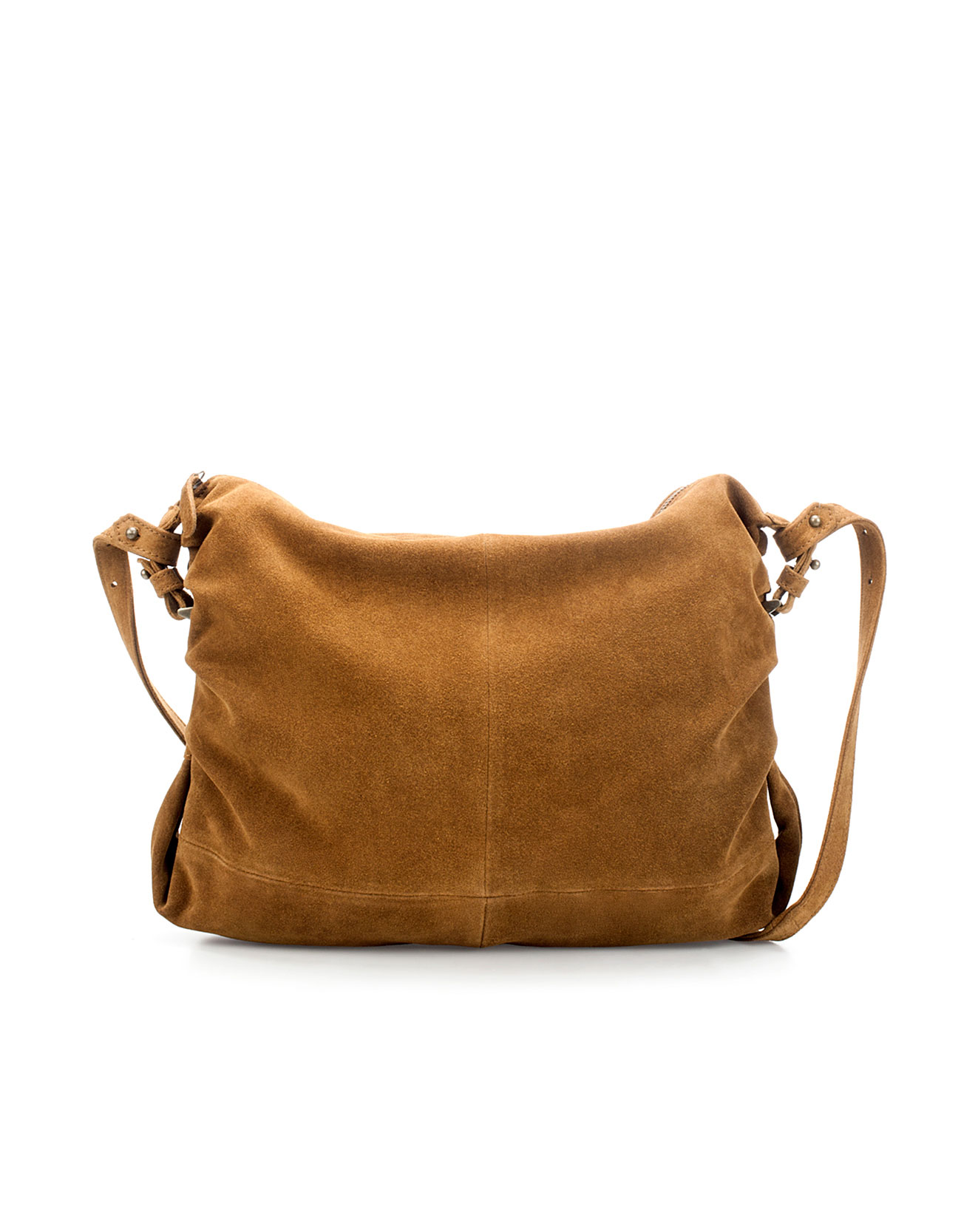 Zara Suede Messenger Bag in Brown | Lyst