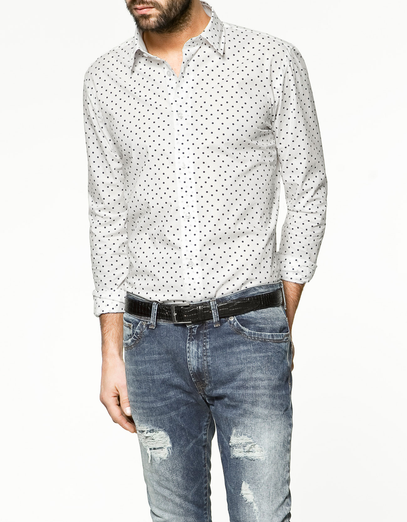 White Polka Dot Shirt Mens