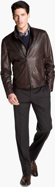 Armani Asymmetrical Zip Leather Jacket in Brown for Men - Lyst