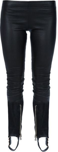 Balmain Leather Leggings in Black - Lyst