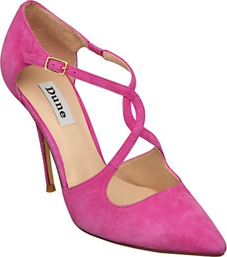 dune dune bob suede stiletto court shoes fuchsia in pink