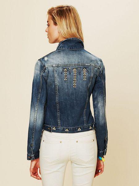 Free People Diamond Embroidered Denim Jacket In Blue Blue