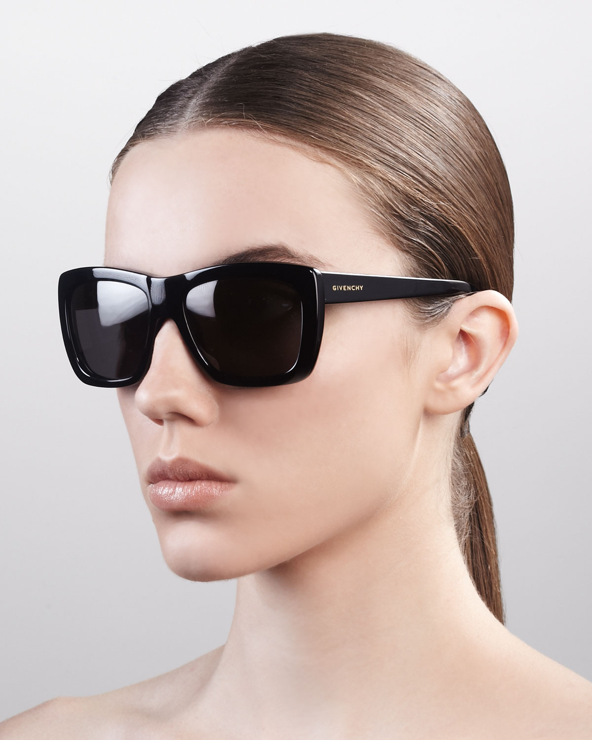 db0db9a9f3 Lyst - Givenchy Oversized Square Sunglasses Shiny Black in Black