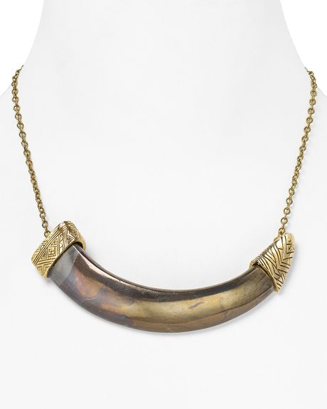 House Of Harlow 1960 14kt Plated Horizontal Engraved Horn Necklace  in Gold
