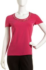 Lafayette 148 New York Bejeweled Neck City Stretch Tee - Lyst