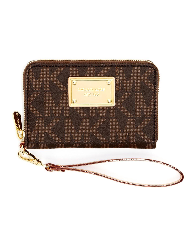 ce1451d88b2a6 ... new zealand lyst michael michael kors iphone zip wallet mk monogram in  brown 785b6 a2ff2