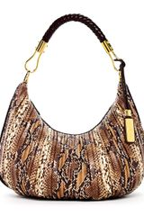 Michael Kors Skorpios Pythonembossed Leather Crescent Hobo Desert - Lyst