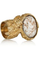 Saint Laurent Arty Goldplated Glass Ring - Lyst