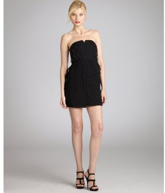 Adam Black Silk Tiered Strapless Cocktail Dress - Lyst
