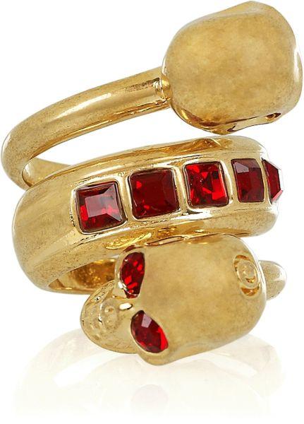 Alexander Mcqueen Swarovski Crystal Doubleskull Ring in Gold