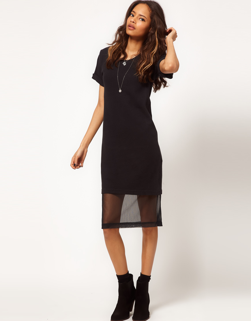 Lyst asos collection tshirt dress with chiffon for Midi shirt dress black