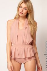 Asos Collection Exclusive Knicker Short Playsuit with Peplum in Pink (nudepink) - Lyst