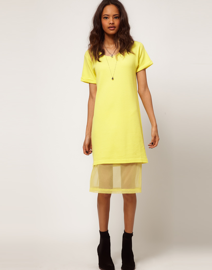 Lyst Asos Collection Midi Tshirt Dress With Chiffon Underskirt In