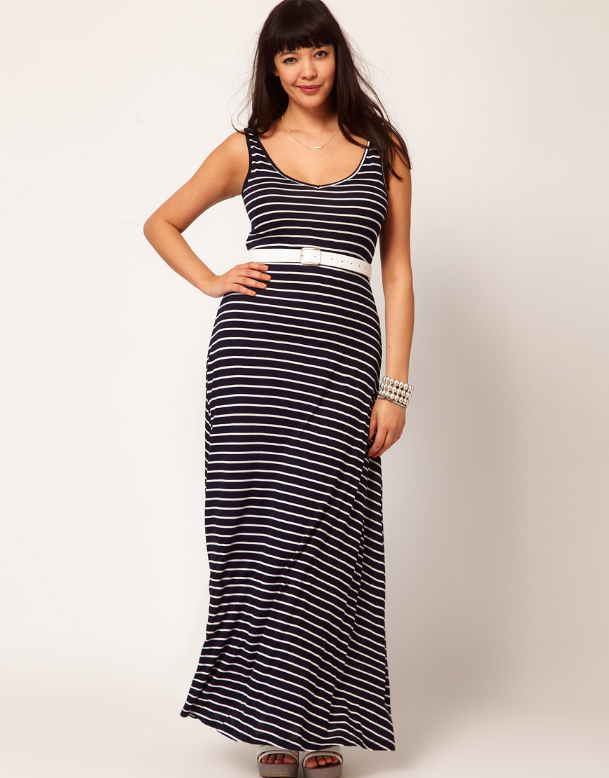 Asos Curve Exclusive Maxi Dress in Stripe in Blue - Lyst