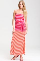 BCBGMAXAZRIA Stripe Strapless Maxi Dress - Lyst