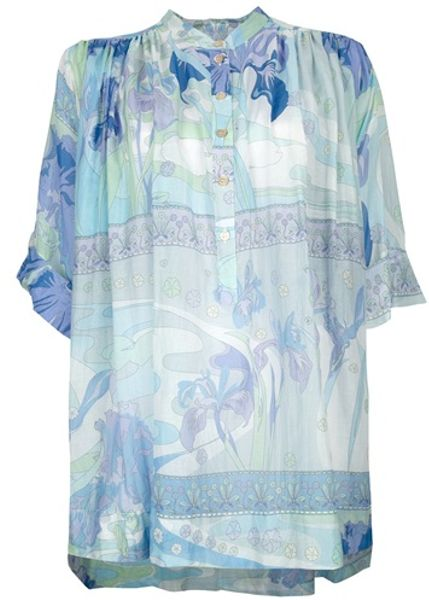 Emilio Pucci Printed Blouse in Blue